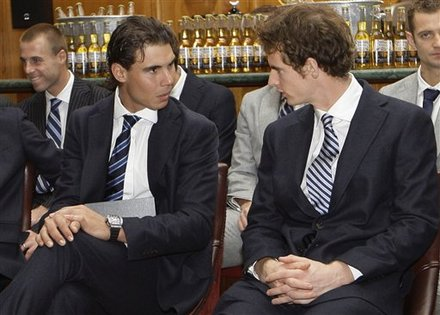 Rafael Nadal Of Spain, Front Left, Talks