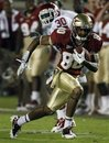 Florida State wide receiver Rashad Greene (80) beats Oklahoma defensive back Javon Harris (30) for a fourth quarter touchdown during an NCAA college football game, Saturday, Sept. 17, 2011, in Tallahassee, Fla.