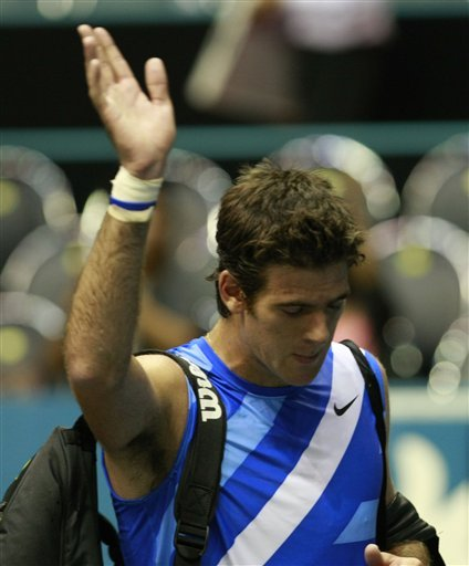 Juan Martin Del Potro Of Argentina Waves