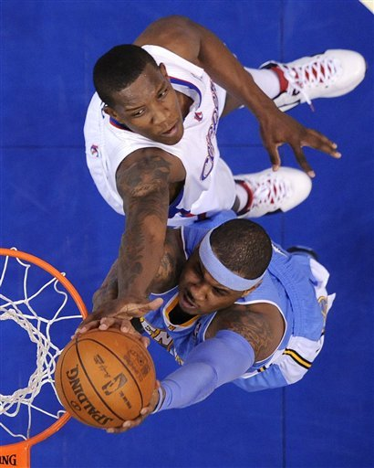 Denver Nuggets Forward Carmelo Anthony, Below, Puts