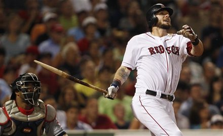 Boston Red Sox's Jarrod Saltalamacchia Watches The Flight Of His Two-run, Broken-bat Home Run Off Cleveland Indians'