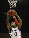 Kansas' Thomas Robinson grabs a rebound in the second half of a Southwest Regional NCAA tournament second round college basketball game, Friday, March 18, 2011 in Tulsa, Okla. (AP Photo)