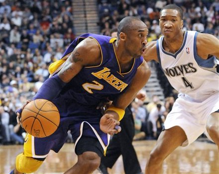 Los Angeles Lakers' Kobe Bryant Drives