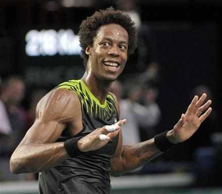 France's Gael Monfils Reacts