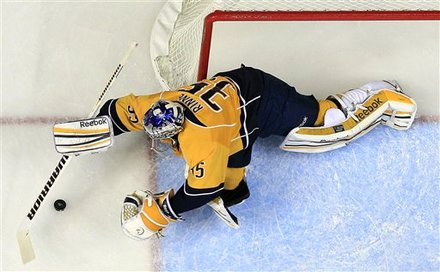 Nashville Predators Goalie Pekka Rinne, Of Finland, Makes