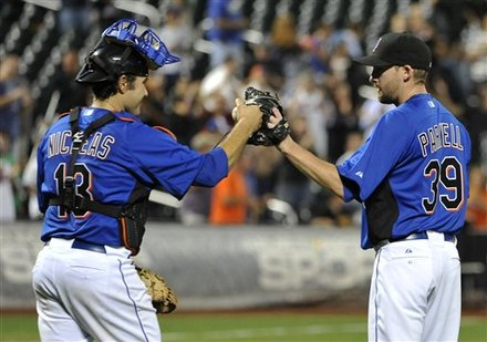 New York Mets Catcher Mike Nickeas (13) Congratulates