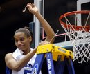 Duke's Jasmine Thomas holds up a piece of the net after their 66-58 win over North Carolina at an NCAA college basketball game in Durham, N.C., Sunday, Feb. 27, 2011. Duke is the regular season 2011 ACC conference champions.