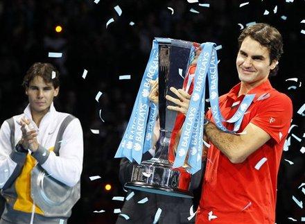 Switzerland's Roger Federer Celebrates