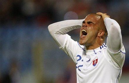 Slovakia's Filip Sebo Reacts