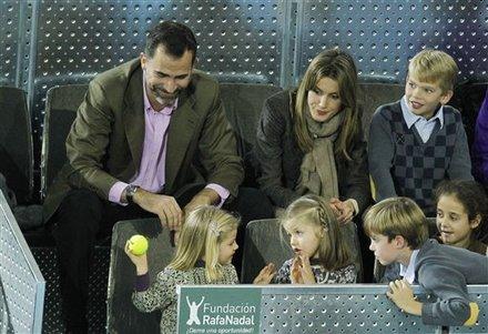 Spain's Crown Prince Felipe, Top Left, And Princess Letizia, Top Center, Watch As