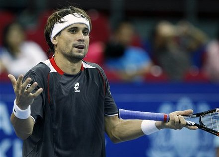 David Ferrer Of Spain Reacts