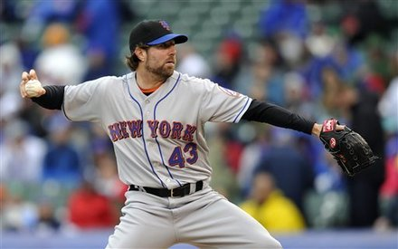 New York Mets Starter R.A. Dickey Pitches