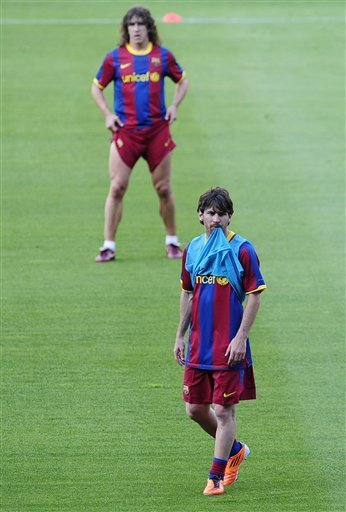 FC Barcelona's Lionel Messi, from Argentina, attends a training session at the Camp Nou stadium in Barcelona, Spain, Monday, May 23, 2011. FC Barcelona will play against Manchester United in the final of the Champions League at Wembley stadium in London on May 28.