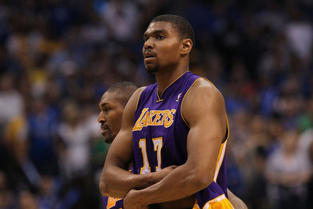 DALLAS, TX - MAY 08:  Andrew Bynum #17 of the Los Angeles Lakers is ejected from play against the Dallas Mavericks in Game Four of the Western Conference Semifinals during the 2011 NBA Playoffs on May 8, 2011 at American Airlines Center in Dallas, Texas.  (Photo by Ronald Martinez/Getty Images)