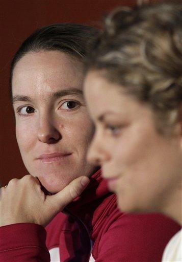 Belgium's Justine Henin, Left, Looks