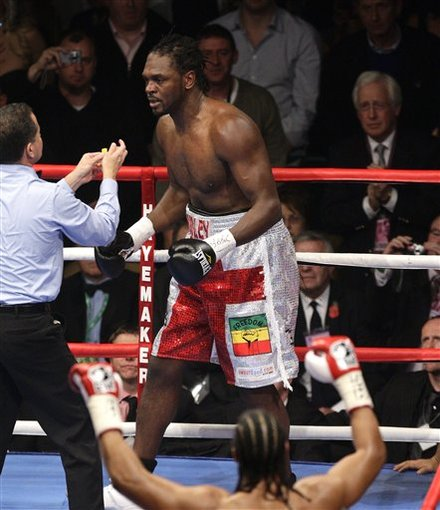 British Boxer Audley Harrison, Top, Is