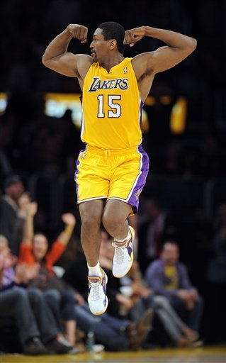 Los Angeles Lakers Forward Ron Artest Celebrates