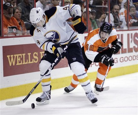 Buffalo Sabres' Steve Montador, Left, Works