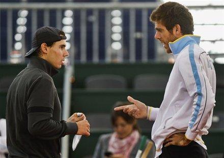 Spain's Rafael Nadal, Right, And Argentina's Juan Martin Del Potro, Left, Talk
