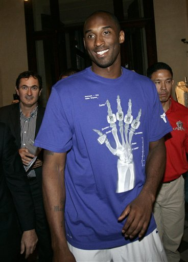 U.S. Basketball Player Kobe Bryant Arrives At The Campidoglio Capitol Hill In Rome, Thursday, Sept. 29. 2011.  Kobe