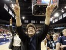 FILE - In this March 25, 2008 file photo, Old Dominion coach Wendy Larry celebrates her team's 88-85 overtime win over Virginia in the second round of the NCAA women's basketball tournament in Norfolk, Va. Larry is stepping down as women's basketball coach at Old Dominion after 25 seasons, including a trip to the national championship game in 1997, the school announced Tuesday, May 17, 2011.