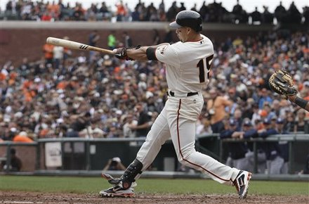 San Francisco Giants' Carlos Beltran Hits