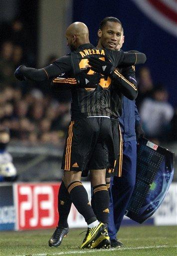 Chelsea''s Nicolas Anelka And Teammate             Didier Drogba React