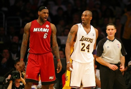 LeBron James #6 Of The Miami Heat Exchanges Words With Kobe Bryant #24 Of The Los Angeles Lakers Late In The Fourth