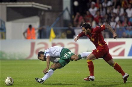 Bulgaria's Stiliyan Petrov, Left, Challenges