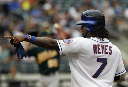 New York Mets' Jose Reyes Reacts