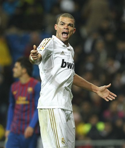 Real Madrid's Pepe From Portugal Gestures