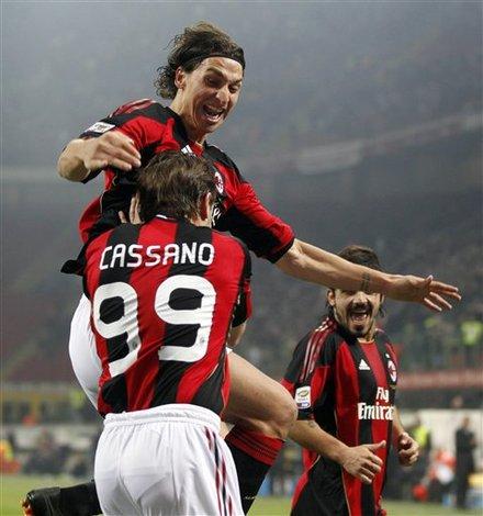 AC Milan Forward Antonio Cassano, Back To Camera, Celebrates