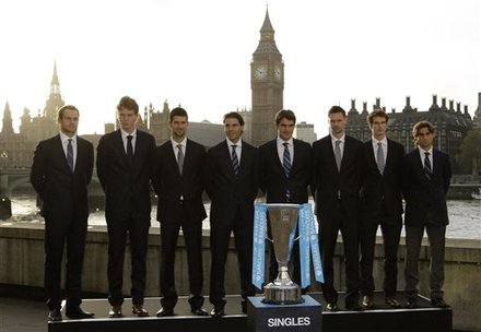 Final Qualifiers, From Left, Andy Roddick, Tomas Berdych, Novak Djokovic, Rafael Nadal, Roger Federer, Robin Soderling,
