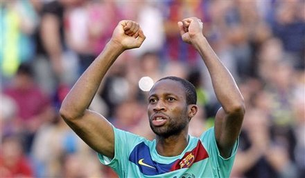 FC Barcelona''s Seydou Keita From Mali Celebrates