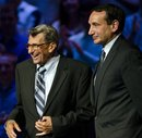 Penn State football coach Joe Paterno,left, and Duke basketball coach Mike Krzyzewski meet at Penn State in State College, Pa. Monday, June 20, 2011 for the taping of an ESPN show
