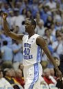 North Carolina 's Harrison Barnes reacts following a basket against Maryland during the second half of an NCAA college basketball game in Chapel Hill, N.C., Sunday, Feb. 27, 2011. North Carolina won 87-76.