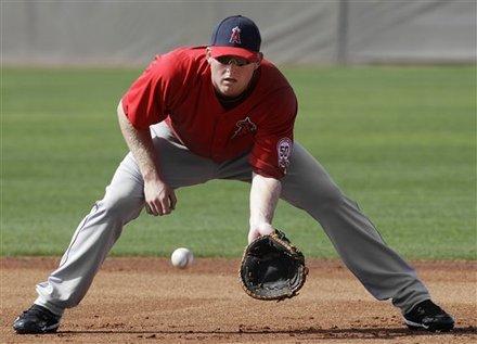 Los Angeles Angels First Baseman Mark Trumbo Fields