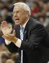 North Carolina coach Roy Williams applauds during the first half of the final against Kentucky in the NCAA men's college basketball tournament East regional, Sunday, March 27, 2011, in Newark, N.J.