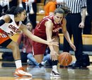 Stanford's Jeanette Pohlen, right, steals the ball from Oregon State 's Alyssa Martin (24) in the first half during an NCAA basketball game Saturday, Jan. 29, 2011, in Corvallis, Ore. Stanford defeated Oregon State 74-44.