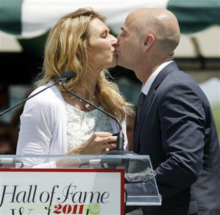 Tennis Great Andre Agassi Kisses