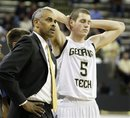 Georgia Tech head coach Paul Hewitt and center Daniel Miller react during a 74-63 loss to Maryland at an NCAA college basketball game Sunday, Jan. 30, 2011, in Atlanta.