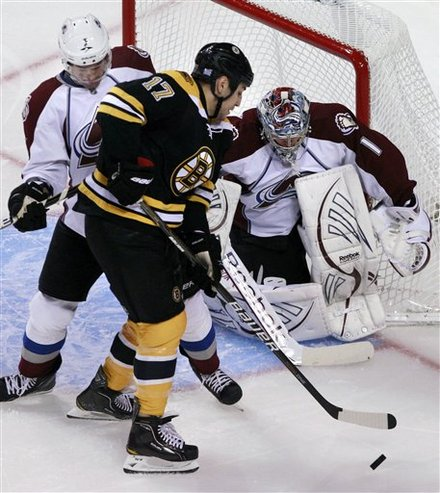 Boston Bruins Left Wing Milan Lucic (17) Tries To Make A Play Against Colorado Avalanche Goalie Semyon Varlamov (1), Of