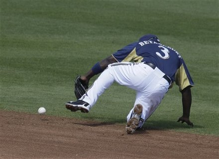 Milwaukee Brewers Shortstop Yuniesky Betancourt Misses