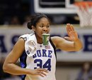 Duke's Krystal Thomas (34) congratulates her teammates during the first half of an NCAA college basketball game against Clemson in Durham, N.C., Wednesday, Jan. 26, 2011. Duke won 92-37.