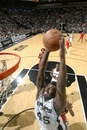 SAN ANTONIO, TX - JANUARY 29: DeJuan Blair #45 of the San Antonio Spurs dunks against the Houston Rockets during the game at AT&T Center on January 29, 2011 in San Antonio, Texas.