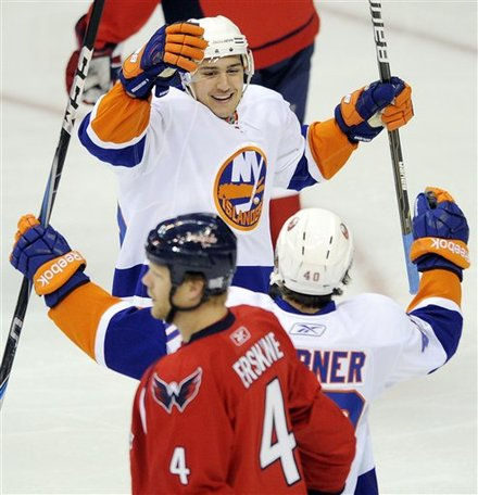 New York Islanders Right Wing Nino Niederreiter, Top, Of Switzerland, Elebrates His Goal With Michael Grabner, Of