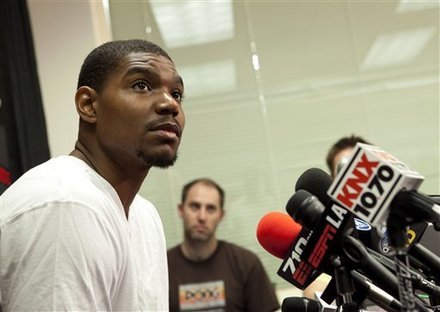 Los Angeles Lakers ' Andrew Bynum listens to a question from the media during his exit interview at the team's basketball training facility in El Segundo, Calif., Tuesday, May 10, 2011. The Lakers were swept by the Dallas Mavericks in the second round of the NBA playoffs.
