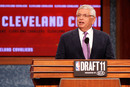 NEWARK, NJ - JUNE 23:  NBA Commissioner David Stern announces that the Cleveland Cavaliers selected Kyrie Irving from Duke with the #1 overall pick in the first round during the 2011 NBA Draft at the Prudential Center on June 23, 2011 in Newark, New Jersey.  (Photo by Mike Stobe/Getty Images)
