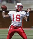 White team quarterback Brion Carnes throws during the annual Red-White NCAA college football spring game in Lincoln, Neb., Saturday, April 16, 2011.