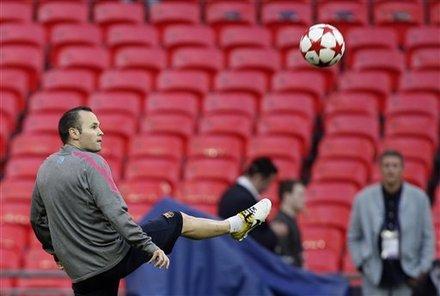 Barcelona's Andres Iniesta In Action